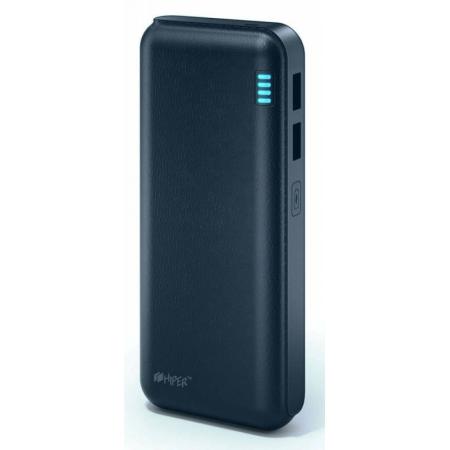 аккумулятор внешний hiper sp12500 li-ion 12500mah 2.1a+1a синий 2xusb(sp12500 dark blue)