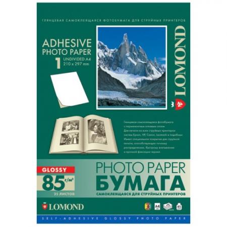 бумага lomond a4 85г/м2 25л глянцевая неделенная самоклеящаяся фото (2410003)