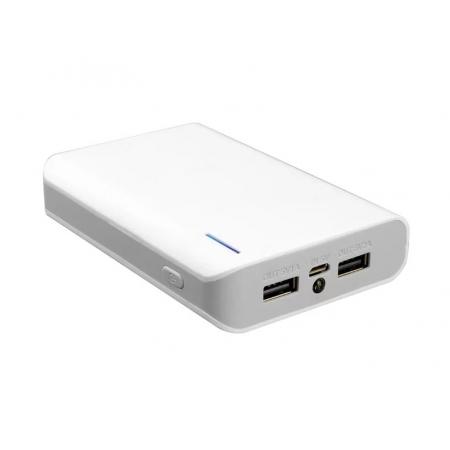Аккумулятор внешний iconBIT FTB8000SP 8000mAh, два USB-порта (5V/2A, 5V/1A), встроенный фонарь, белый