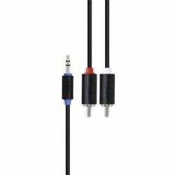"""кабель аудио 3.5 мм/2xrca (миниджек/2 """"тюльпана"""") (m/m) 3 м (блистер) экранированный, черный (prolink pb103-0300)"""