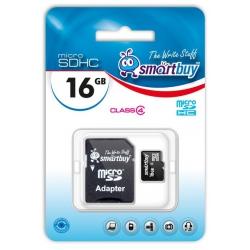 память sd card 16gb smartbuy sdhc micro class 4 с адаптером sd