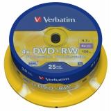 Диск DVD+RW Verbatim 4.7Gb 4х cake box 25шт