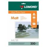 Бумага Lomond A4 200г/м2 25л матовая/матовая для струйной печати фото (0102052)