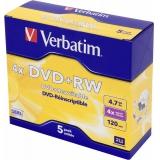 Диск DVD+RW Verbatim 4.7Gb 4x Jewel case (5шт) (43229)