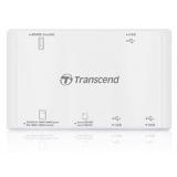 Кардридер USB Transcend TS-RDP7W All-in-1, 3xUSB 2.0, белый