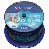 Диск CD-R Verbatim 700 Mb 52х AZO Wide Inkjet Printable ID Branded Cake box 50шт (43309)