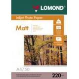 Бумага Lomond A4 220г/м2 50л матовая/матовая для струйной печати фото (0102144)