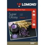 Бумага Lomond A4 200г/м2 20л суперглянцевая ярко-белая микропористая односторонняя для струйной печати фото (1101112)