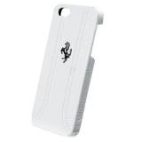 Чехол-крышка для Apple iPhone 5 Ferrari Hard FF-Collection (кожаный, белый) (FEFFHCP5FW)