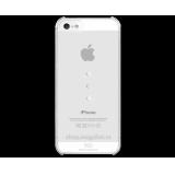 Чехол-крышка для Apple iPhone 5 (жесткий пластик, прозрачный/край и полоски - сиреневый металлик) (CH)