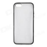 Чехол-крышка для Apple iPhone 5 (мягкий пластик, прозрачный/голубой край) (CH)