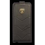 Чехол-папка для Apple iPhone 5 Lamborghini Aventador-D1 (кожаный, коричневый) (LB-FCIP5-AVD1-BN)