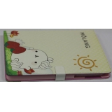 Чехол-подставка для Apple iPad 2/3/4 TabBook (кожзам бежевый кролик Molang с клубникой) (CH)