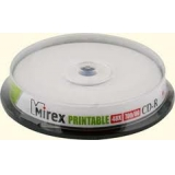 Диск CD-R Mirex 700 Mb 48-х printable Cake box 10