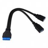 Переходник с матернской платы USB 20pin на 2xUSB3.0 50 см
