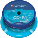 Диск CD-R Verbatim 700 Mb 52x Cake Box (25шт) (43432)