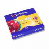 Диск DVD+RW Verbatim 4.7Gb 4x color slim 5шт (43297)