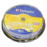 Диск DVD+RW Verbatim 4.7Gb 4х cake box 10шт (43488)
