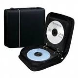 Портмоне на 48 CD на молнии, прямоугольное, нейлон, с ручкой, черный, красный, оранжевый PL-CD-N48