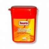 Чистящие салфетки BURO для экранов мониторов влажные в тубе 100 шт (BU-TFT)