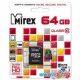 Карта памяти microSD 64Gb Mirex Class 10 UHS-I с адаптером (13613-AD10SD64)