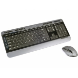 Клавиатура Jet.A SlimLine KM5 W (беспр.клавиатура+беспр.мышь) чёрно-серая мультимедийная USB