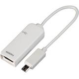 Кабель MHL microBM/HDMI (11M/19F) 0.15 м (блистер) для Samsung Galaxy Note 2/S3/S4, белый (Prolink MP230)