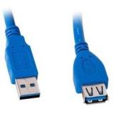 Кабель USB 3.0 AM/AF 1.8 м (пакет) удлинитель, экранированный, позолоченные контакты, синий (Gembird CCP-USB3-AMAF-6)