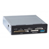 """Кардридер 3.5"""" GINZZU GR-152UВ All-in-1 (SD/microSD/MS/M2/CF/xD), 2xUSB 3.0, черный"""