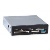 """Кардридер 3.5"""" GINZZU GR-156UВn All-in-1 (SD/microSD/MS/M2/CF/xD), 1xUSB 3.0, черный"""