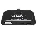 Кардридер microUSB GINZZU GR-581UB 2-in-1 (SD, microSD), 1xUSB 2.0, 1xmicroUSB, для подключения к телефонам/планшетам