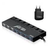 Концентратор GINZZU GR-388UAB 4 порта USB 3.0, 3 порта USB 2.0 + зарядное устройство GINZZU GA-3212UB