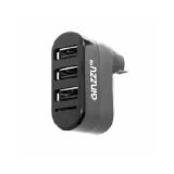 Концентратор GINZZU GR-413UB 3 порта USB 2.0, кардридер microSD, черный
