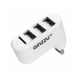 Концентратор GINZZU GR-413UW 3 порта USB 2.0, кардридер microSD, белый