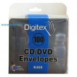 Конверт пластиковый на 2 CD с перфорацией для скоросшивателя (100 шт.) черные