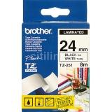 Лента ламинированная Brother TZ-E251 24мм  х 8м (черный шрифт на белом фоне) для термопринтера P-Touch