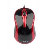 Мышь A4TECH N-350-2 V-Track  USB red/black