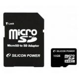 Карта памяти microSD 16Gb Silicon Power Class 4 с двумя адаптерами