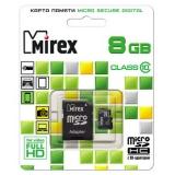 Карта памяти microSD 8Gb Mirex Class 10 с адаптером (13613-AD10SD08)