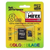 Память SD Card 8Gb Mirex micro SDHC Class 4 + адаптер SD
