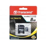 Память SD Card 8Gb Transcend micro SDHC Class 10 + адаптер (TS8GUSDHC10)