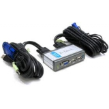 Переключатель D-Link KVM-221 USB/VGA/audio, 2-х портовый, два кабеля 1.8 м в комплекте